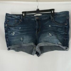Torrid floral jean shorts